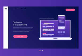 Title for website. Homepage. Сoncept of development and software. Monitor with program code on screen of laptop, tablet and smartphone. Digital industry. Great data processing. Vector illustration.