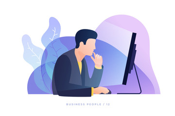 Сoncept of work in office. Businessman carefully looks at screen monitor and analyzes data. Modern flat style vector illustration.