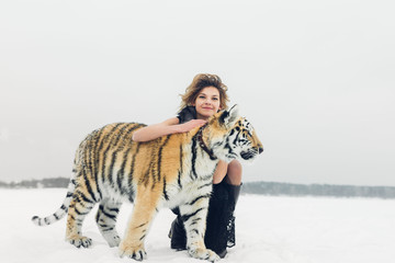 tiger and woman