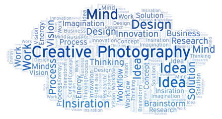 Creative Photography word cloud, made with text only.