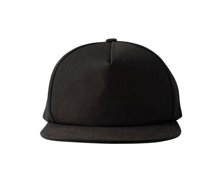 Front view of black snapback cap isolated on white background. Blank baseball cap or trucker hat