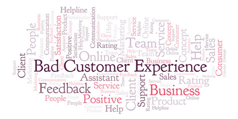 Bad Customer Experience word cloud.