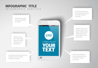 Infographic Layout with Smartphone and Text Bubbles