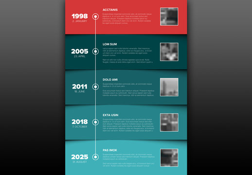 Timeline Infographic Layout with Color Blocked Sections
