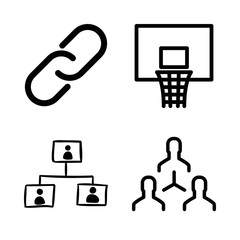net icons set with basketball hoop, networking and network vector set