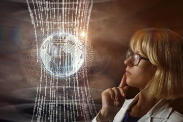 Woman watching the data flow in the network.