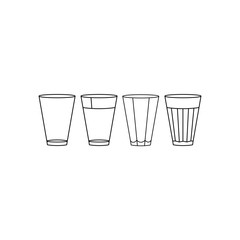 Glasses icon. Black and white glass set.