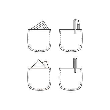 Pencil in pocket. Black and white pocket icon.