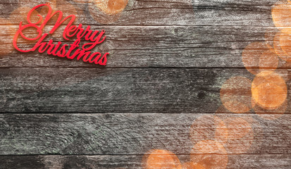 Old wooden background. Red Christmas Merry inscription, space for text. Top view. Effect of lights