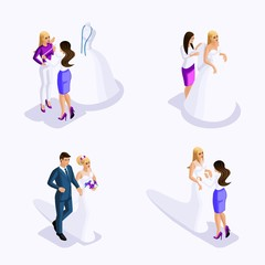 Isometric man and woman preparing for the wedding, the bride and groom, fitting the dress, sewing workshop, beautiful attire of the bride