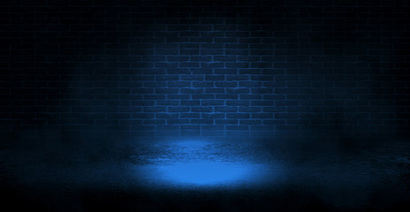 Printed roller blinds Brick wall Background of the old brick wall and concrete floor. Neon light. Halloween background