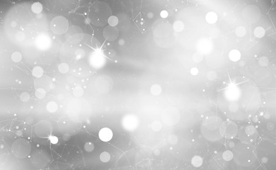 Silver bokeh with sparkles and artistic lines. Blurry Christmas and New Year greeting card illustration background.