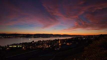 Foto op Canvas Las Vegas Sonnenuntergang am Zürisee (Zürichsee)