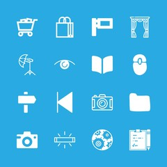 16 empty icons with bedroom and photo camera in this set