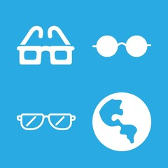 4 see icons with eyeglasses and global planetary sphere with continent in this set