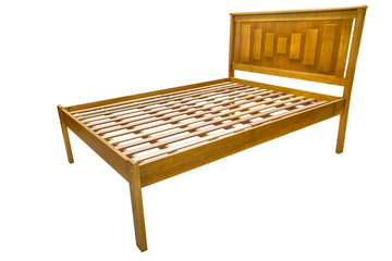 wooden double bed isolated on white