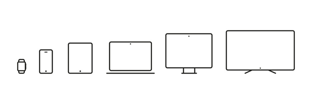 Device Icons: smartwatch, smartphone, tablet, laptop, desktop computer and tv. Vector illustration, flat design