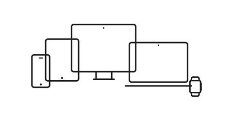 Device Icons: smartwatch, smartphone, tablet, laptop and desktop computer. Vector illustration, flat design