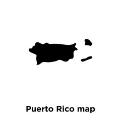 Puerto Rico map icon vector isolated on white background, logo concept of Puerto Rico map sign on transparent background, black filled symbol
