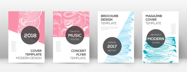 Cover page design template. Modern brochure layout. Cool trendy abstract cover page. Pink and blue g