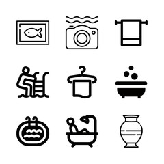 pool icons set with towel, bathtub and ceramic vector set