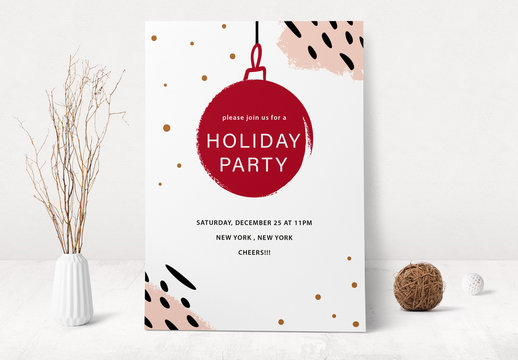 Holiday Event Invitation Layout with Ornament Illustration