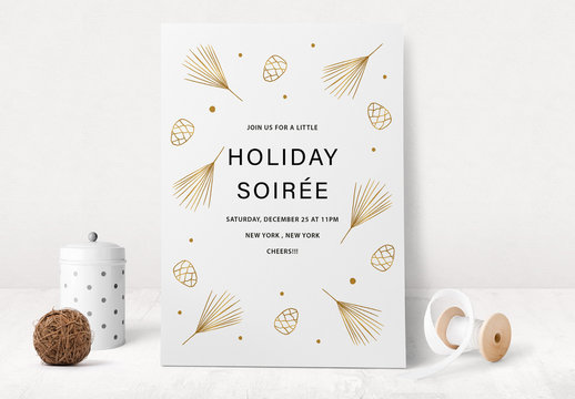 Holiday Event Invitation Layout with Pinecone Illustrations