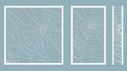 A vector illustration of paper cut silhouette spider web on a gray background. Laser cutting template. Halloween vintage ornate swirl pattern. For plotter and silk screen printing. serigraphy.