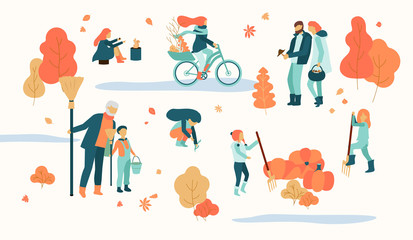 People spend leisure time outdoors in park. Autumn illustration.