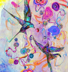 Colorful birds and flowers, illustration