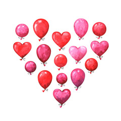 Hand painted Valentine's day greeting card. Watercolor party collection of pink, red and purple balloons. Lovely design elements isolated on white background