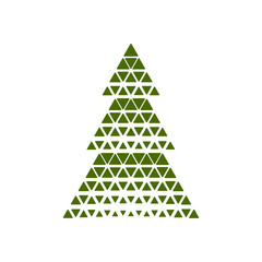 Merry Christmas tree with triangle shape. Vector illustration