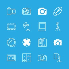 photograph icons set with soft box, picture collage and filter uv vector set