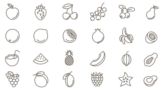 fruits vector icon set