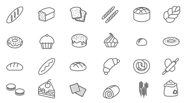bakery vector icon set