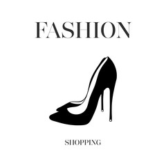 Hand drawn black women shoes heels. Fashion design. Ink hand drawn picture sign sketch in art doodle style. Fashion shopping logo design Perfect for logo, logotype, invitation, greeting card, poster