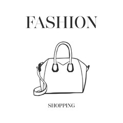 Woman bag hand drawn, female stylish vector fashion illustration black on white line. Fashion shopping logo design Ink hand drawn picture sketch style. For logo, invitation, greeting card, poster