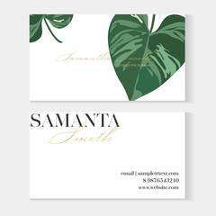 Business cards gold and colorful design, tropical leaf. Creative business card template with artistic vector design. Nature green background with hand drawn leaves.