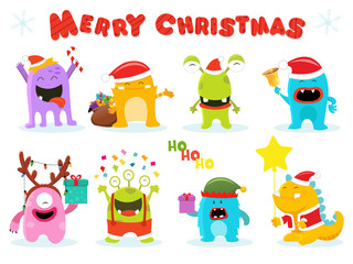 Cute Christmas Monster Characters
