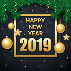 Happy new year 2019 vector background. Text frame decorated with fir branches and christmas toys. Can be used as a greeting card, invitation, package design