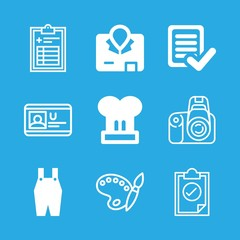 profession icons set with chef hat, approve and paint pallete with paint brush vector set