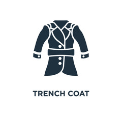 Trench Coat icon. Black filled vector illustration. Trench Coat symbol on white background.