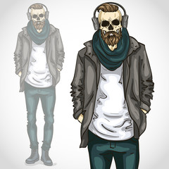 Vector man with skull and beard and moustaches