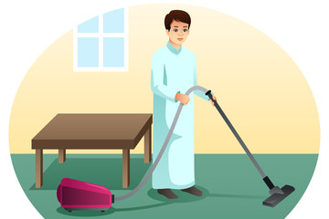 Muslim Man Vacuuming the Carpet at Home