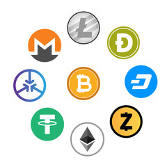 Set of cryptocurrency icon . Vector .