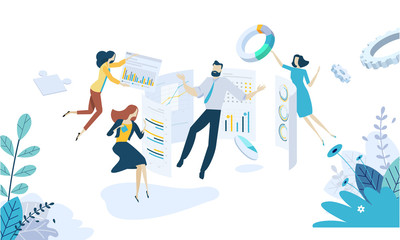Vector illustration concept of data analysis. Creative flat design for web banner, marketing material, business presentation, online advertising.
