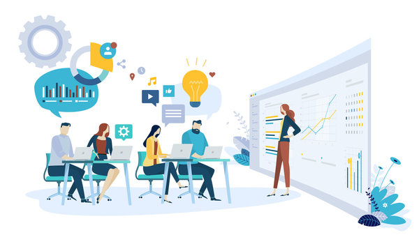 Vector illustration concept of brainstorming, research and development department. Creative flat design for web banner, marketing material, business presentation, online advertising.