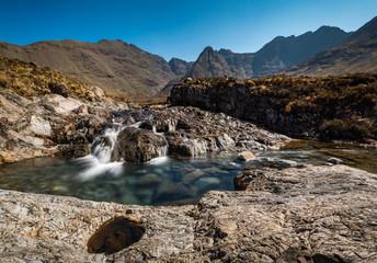The Fairy Pools, Glen Brittle, Isle of Skye, Scotland. Horizontal. Panorama.