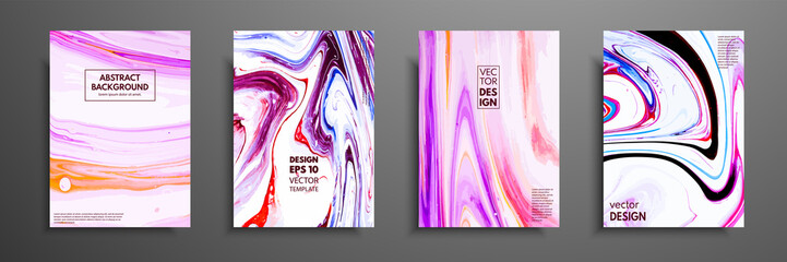 Set of universal vector cards. Liquid marble texture. Colorful design for invitation, placard, brochure, poster, banner, flyer. Artistic covers design. Creative fluid colors backgrounds.