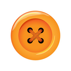 Clothes button, vector icon. Art and crafts in orange bright colors. Fashion and needlework